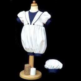 Baby Boys Plain Navy & White Christening Romper & Hat