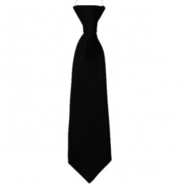 Boys Black Plain Satin Tie on Elastic