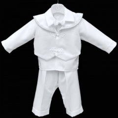 Baby Boys White Scroll 4 Piece Bow Tie Suit