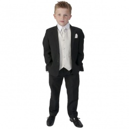 Boys Black & Cream 6 Piece Slim Fit Suit