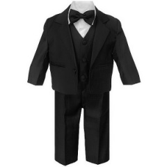 Baby Boys Black 5 Piece Bow Tie Suit