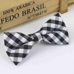 Boys Black & White Check Dickie Bow with Adjustable Strap