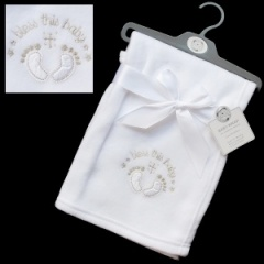 White Bless This Baby Christening Blanket with Cross & Feet
