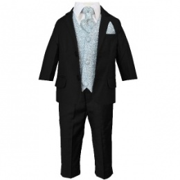Boys Black & Blue Swirl 6 Piece Slim Fit Suit
