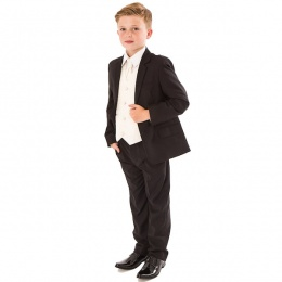 Boys Black & Ivory Deluxe Swirl 6 Piece Slim Fit Suit
