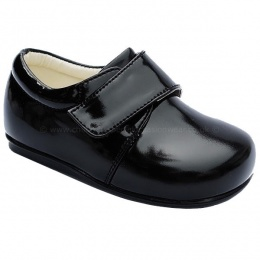 Boys Black Patent Formal First Walker Velcro Shoes