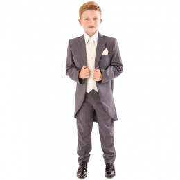 Boys Grey & Ivory Deluxe Swirl 6 Piece Tail Suit