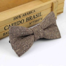 Boys Brown Tweed Wool Bow Tie with Adjustable Strap