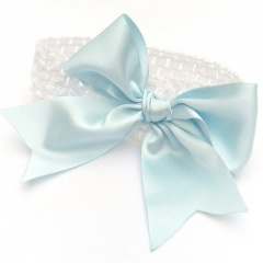Baby Girls White Crochet Headband with Large Satin Sky Blue Bow