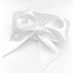 Baby Girls White Crochet Headband with Large Satin White Bow