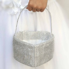 Girls Diamante Heart Shaped Petal Basket