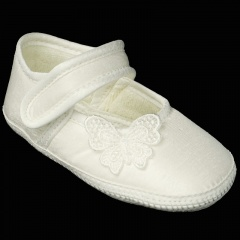 Baby Girls Ivory Dupion Satin Butterfly Christening Pram Shoes