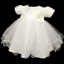Baby Girls Ivory Double Bow Tulle Dress