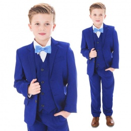 Boys Electric Blue 5 Piece Slim Fit Bow Tie Suit