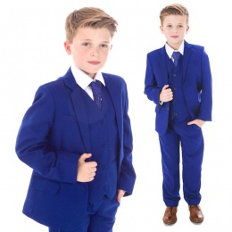 Boys Electric Blue 5 Piece Slim Fit Suit