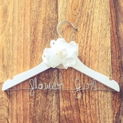 Handmade Flower Girl White Wooden Wedding Hanger