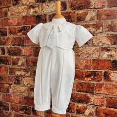 Exclusive Millie Grace 'George' Ivory Christening Romper with Cross Tie