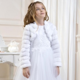 Girls Faux Fur Ribbed Jacket by Lacey Bell Style CJ27