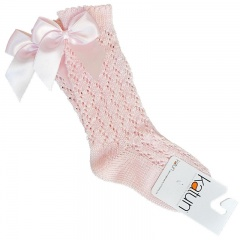 Baby Girls Pink Spanish Lace Knit Knee Length Bow Socks