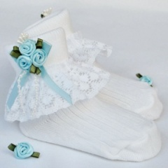 Girls White Lace Socks with Baby Blue Rosebud Cluster