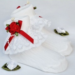 Girls White Lace Socks with Red Rosebud Cluster