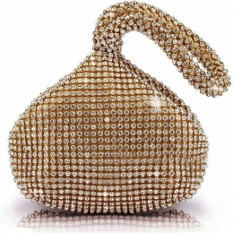 Girls Sparkly Gold Diamante Wrist Bag