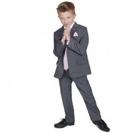 Boys Grey & Pink 6 Piece Slim Fit Suit