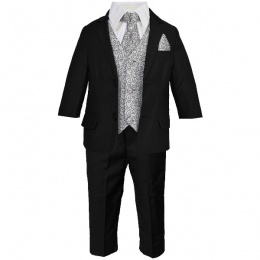 Boys Black & Grey Swirl 6 Piece Slim Fit Suit