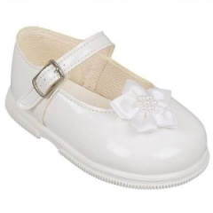 Girls White Patent Star Flower Special Occasion Shoes