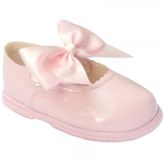Girls Pink Patent Large Satin Bow Special Occasion Shoes