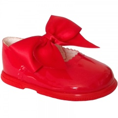 Girls Red Patent Large Satin Bow Special Occasion Shoes