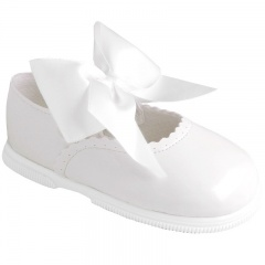 Girls White Patent Large Satin Bow Special Occasion Shoes