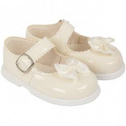 Girls Ivory Patent Satin Bow Special Occasion Shoes