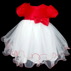Baby Girls White & Red Hearts & Bow Tulle Dress