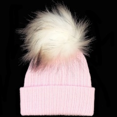 Baby Pink Faux Raccoon Fur Bobble Hat