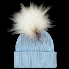 Baby Blue Faux Raccoon Fur Bobble Hat
