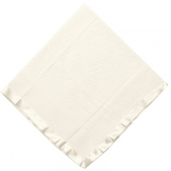 Ivory Acrylic Christening Shawl with Wide Satin Trim