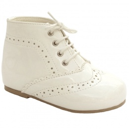 Ivory Patent Brogue Lace Up Boots