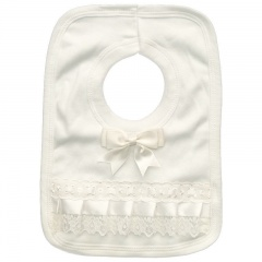 Ivory Cotton Bib with Lace & Satin Bow
