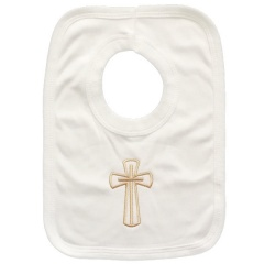 Ivory Cotton Bib with Large Gold Cross