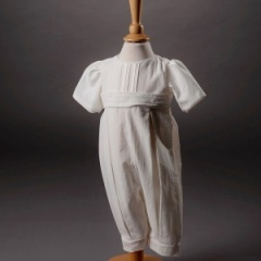 Baby Boys Millie Grace 'Jacob' Linen Look Cotton Christening Romper