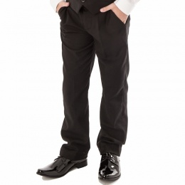 Boys Black Slim Fit Formal Suit Trousers