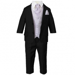 Boys Black & Lilac Swirl 6 Piece Slim Fit Suit