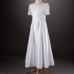 Millie Grace 'Clara' White Lace & Satin Communion Dress