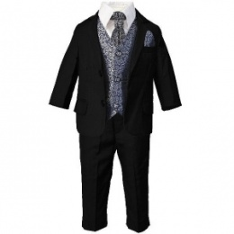 Boys Black & Navy Swirl 6 Piece Slim Fit Suit