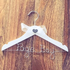 Handmade Page Boy White Wooden Wedding Hanger