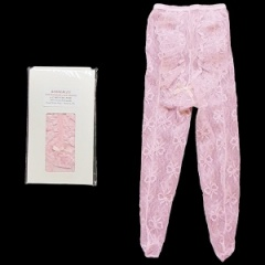 Baby Girls Pink Nottingham Lace Tights with Frill & Bow