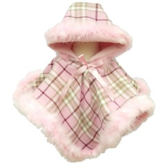 Baby Girls Pink Check & Marabou Fur Poncho Cape
