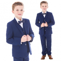Boys Royal Blue 5 Piece Slim Fit Bow Tie Suit