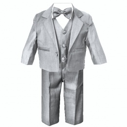 Baby Boys Silver Grey 5 Piece Bow Tie Suit